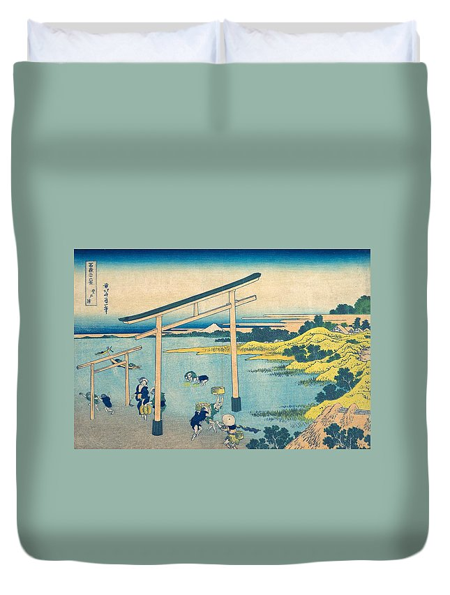 1830-1832 Duvet Cover featuring the painting Noboto Bay by Katsushika Hokusai