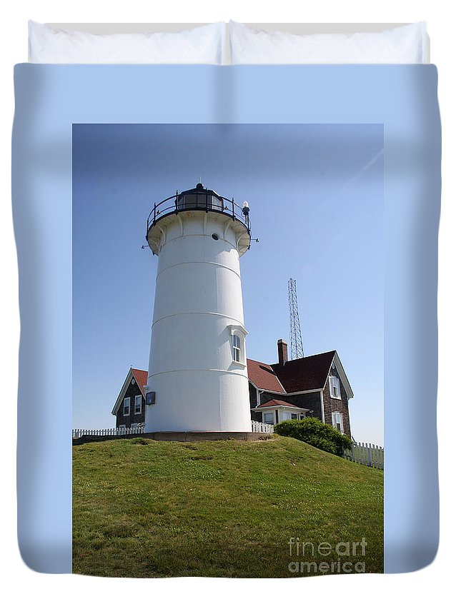 Lighthouse Duvet Cover featuring the photograph Nobska Light Station by Christiane Schulze Art And Photography