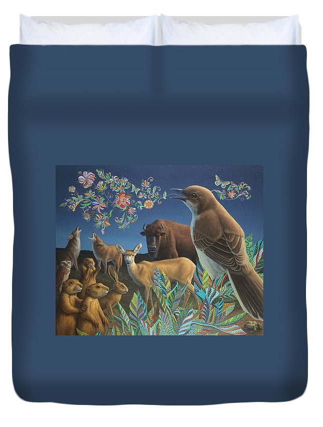 Mockingbird Duvet Cover featuring the painting Nocturnal Cantata by James W Johnson