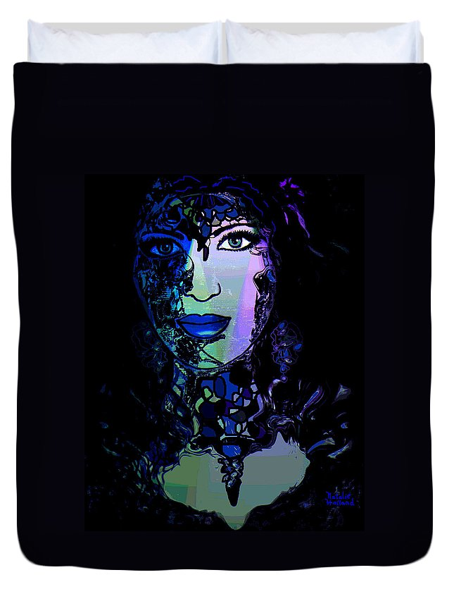 Face Duvet Cover featuring the mixed media Nocturne by Natalie Holland