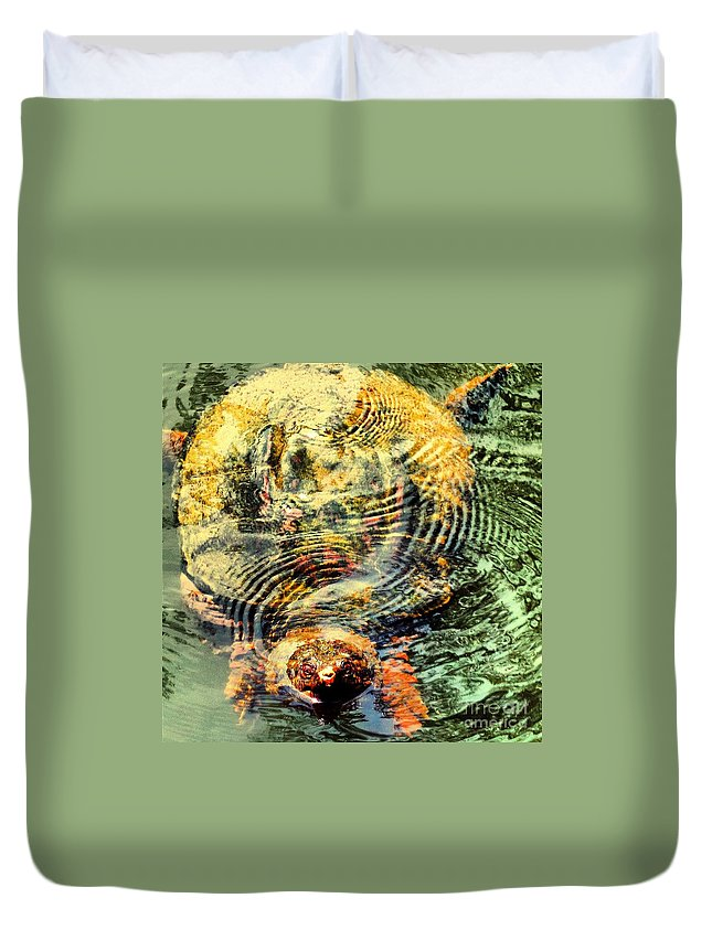 Turtle Duvet Cover featuring the photograph Noland by Heather Taylor