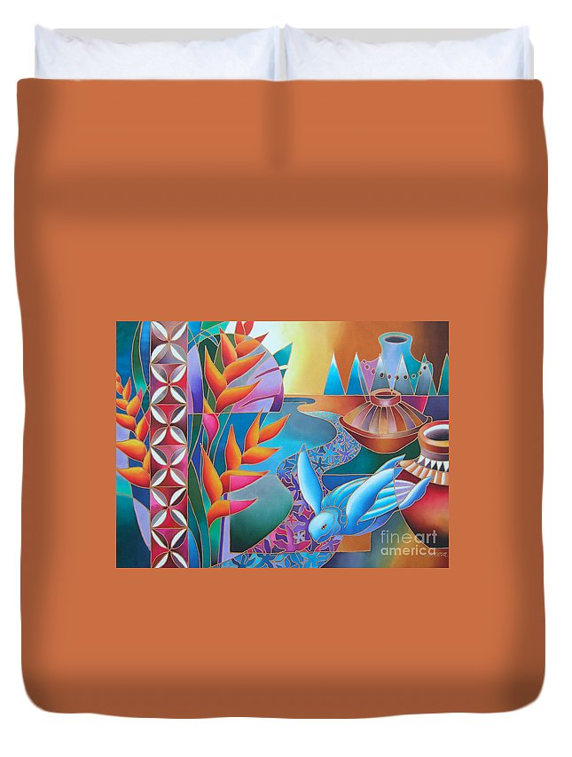 Fiji Islands Duvet Cover featuring the painting Noqu Viti by Maria Rova