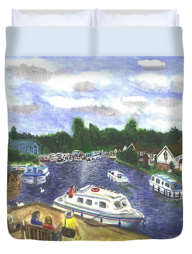 Landscape Duvet Cover featuring the painting Norfolk Broads by Michelle Archer
