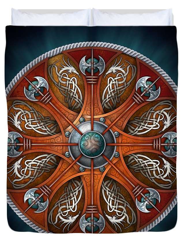 Norse Duvet Cover featuring the photograph Norse Aegishjalmur Shield by Ricky Barnes