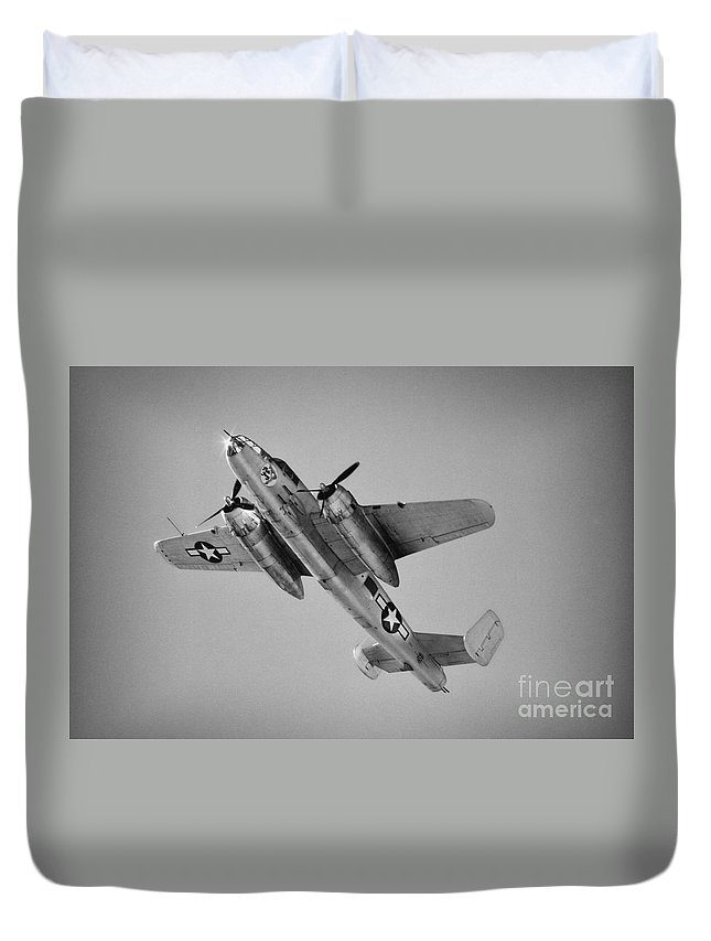 North American B-25 Mitchell Duvet Cover featuring the photograph North American B-25 Mitchell Bw by Tommy Anderson