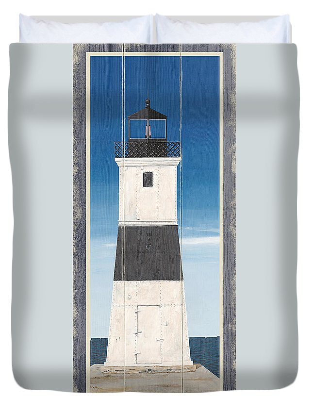 Gail Fraser Duvet Cover featuring the drawing North American Lighthouses - Erie by MGL Meiklejohn Graphics Licensing
