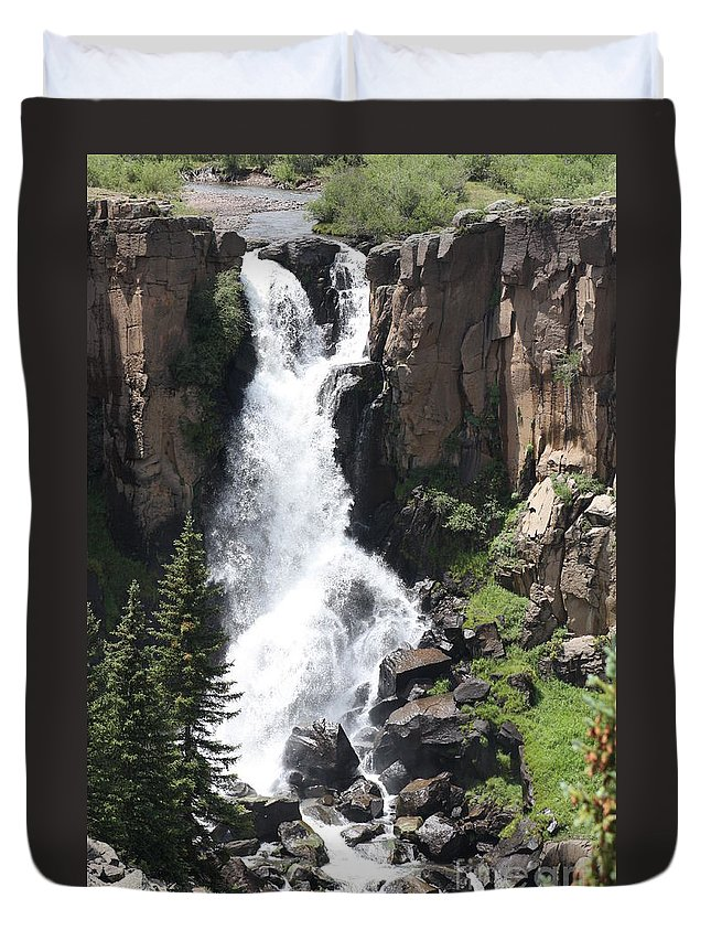 Water Falls Duvet Cover featuring the photograph North Clear Creek Falls by Brandi Maher