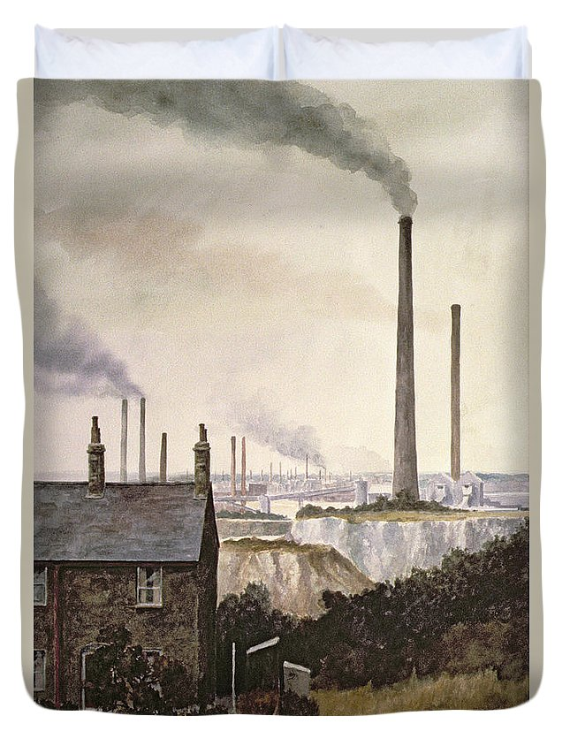 Factory; Pollution Duvet Cover featuring the painting North Kent Landscape Nr Northfleet Gravesend by Vic Trevett