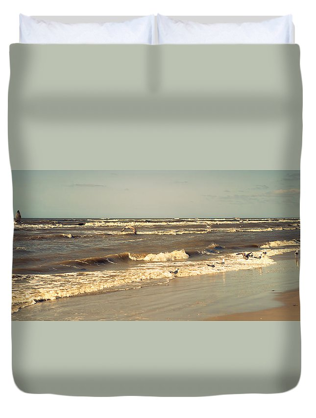 Nature Duvet Cover featuring the photograph North Sea Coastal Line 1. Holland by Jenny Rainbow