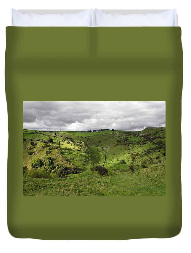 Derbyshire Duvet Cover featuring the photograph North West - Along Cressbrook Dale by Rod Johnson