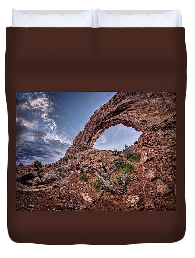 Arches National Park Duvet Cover featuring the photograph North Window Arch by Jeff Burton