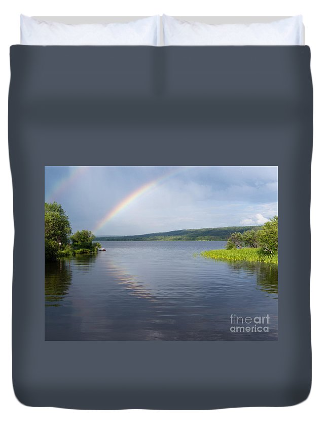 Beautiful Duvet Cover featuring the photograph Northern Bc Calm Taiga Lake Rainbow Canada by Stephan Pietzko