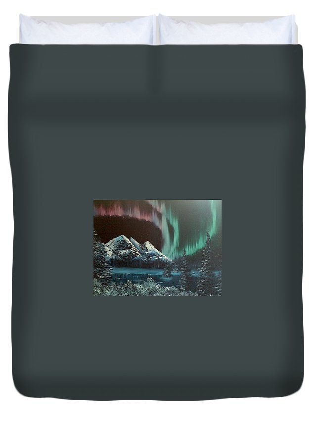 Impression Duvet Cover featuring the painting Northern Lights by Gerry Smith