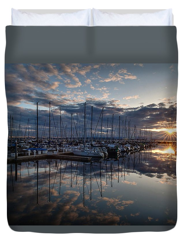 Shilshole Duvet Cover featuring the photograph Northwest Marina Sunset Sunstar by Mike Reid