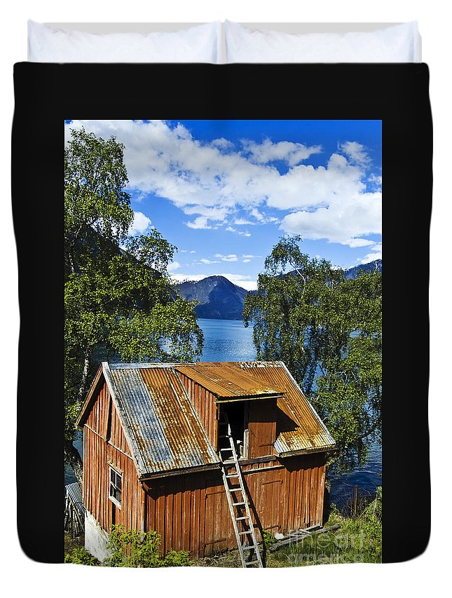 Heiko Duvet Cover featuring the photograph Norwegian Barn House by Heiko Koehrer-Wagner