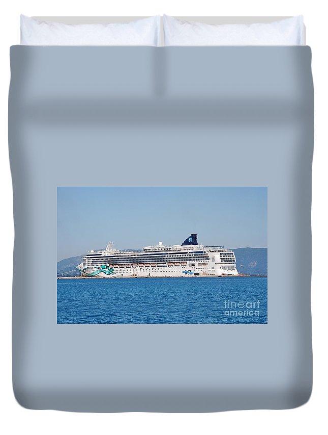 Bay Duvet Cover featuring the photograph Norwegian Jade Cruise Ship Corfu by David Fowler
