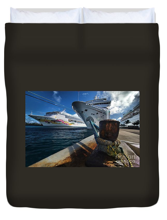 Bahamas Duvet Cover featuring the photograph Norwegian Sky Carnival Sensation And Royal Caribbean Majesty by Amy Cicconi