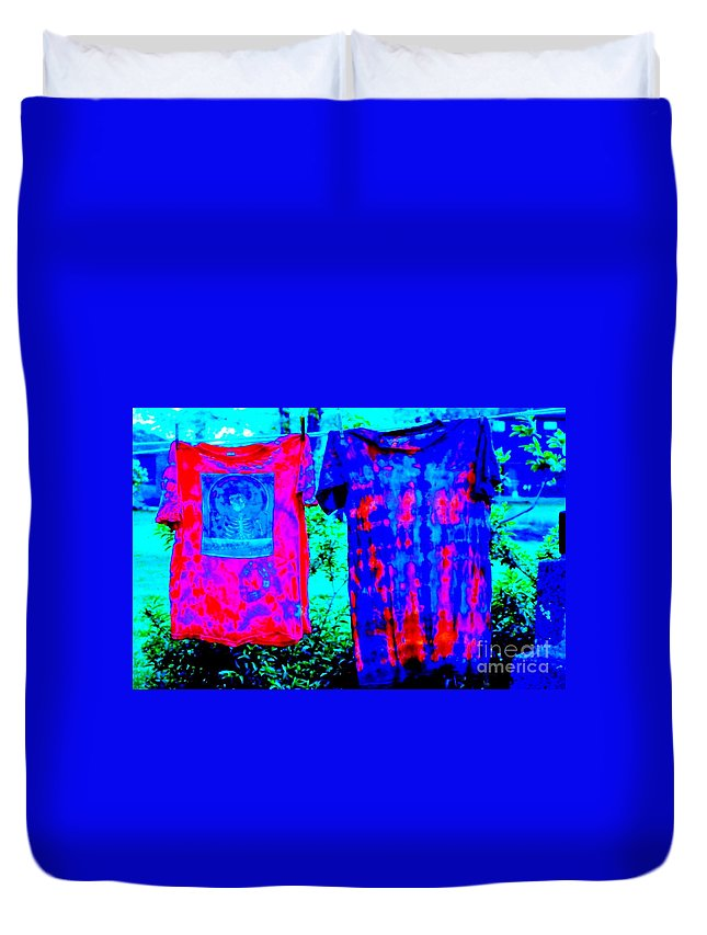 Tie Dye Duvet Cover featuring the photograph Not Fade Away - Tie Dye by Susan Carella