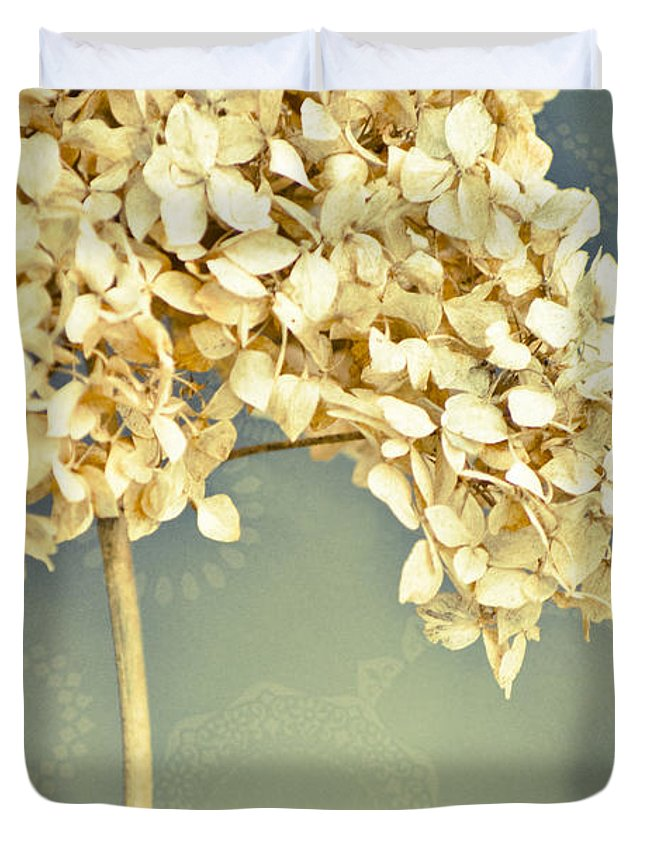 Hydrangea Duvet Cover featuring the mixed media Not In Season by Trish Tritz
