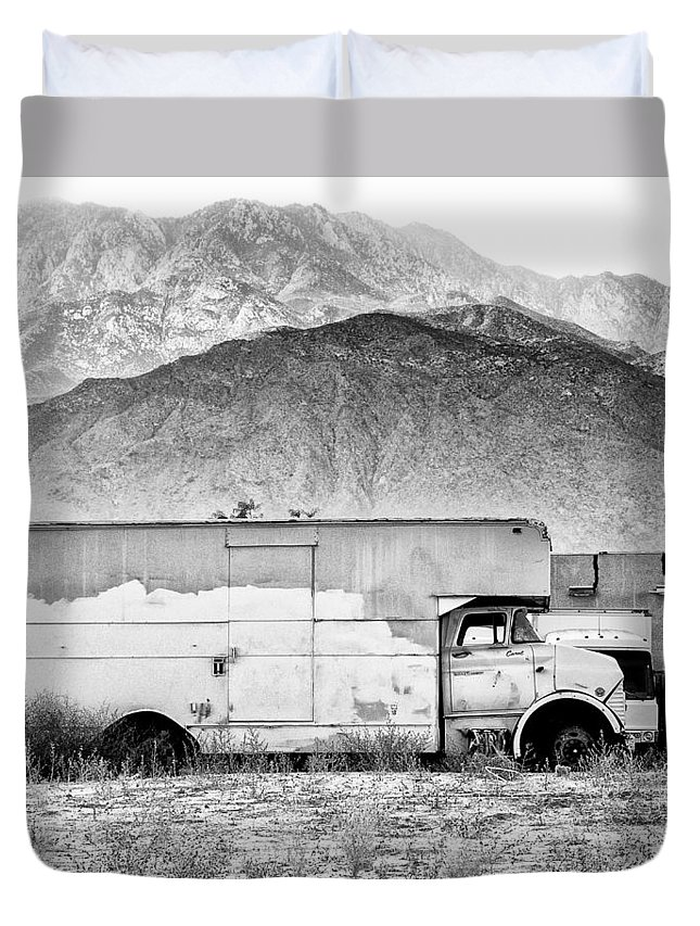 Desert Duvet Cover featuring the photograph Not In Service Bw Palm Springs by William Dey