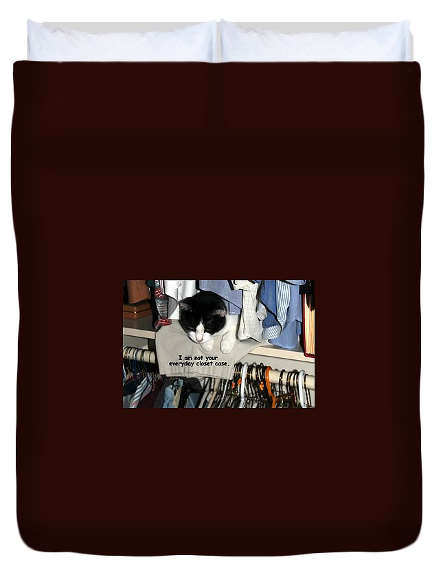 Cat Duvet Cover featuring the photograph Not Your Everyday Closet Case by Laurel Talabere