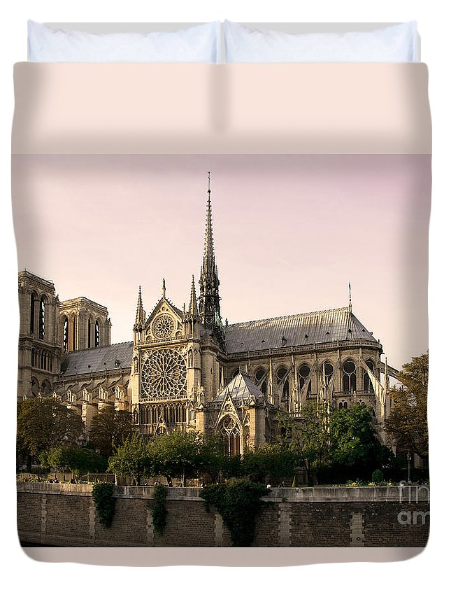 Notre Dame De Paris Duvet Cover featuring the photograph Notre Dame De Paris by Phill Petrovic
