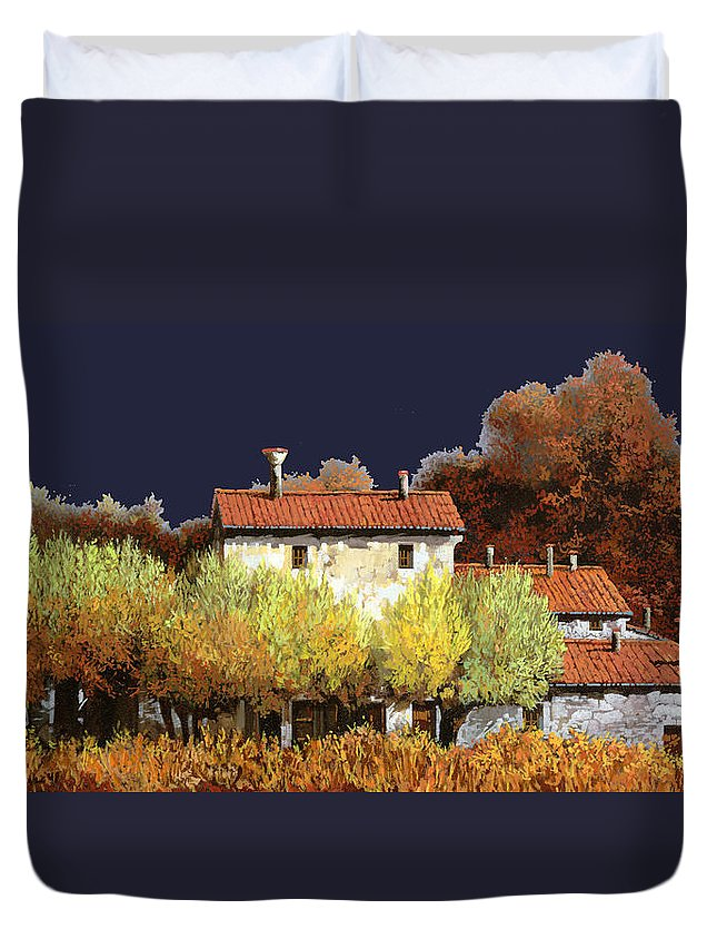 Vineyard Duvet Cover featuring the painting Notte In Campagna by Guido Borelli