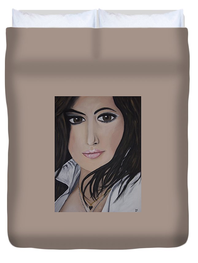 Actress Duvet Cover featuring the painting Noureen Dewulf by Dean Stephens