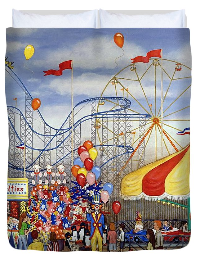 Carnival Duvet Cover featuring the painting Novelties At The Carnival by Linda Mears