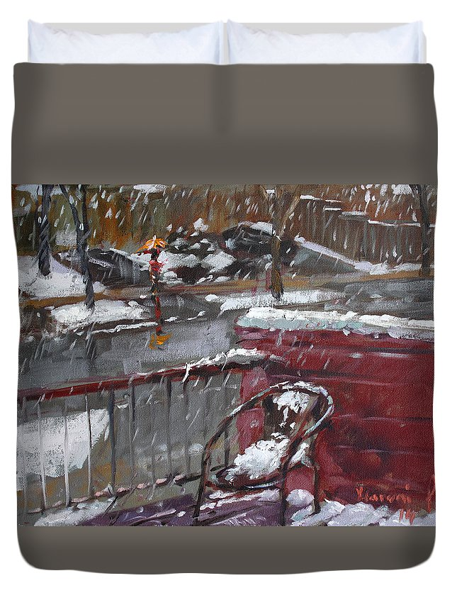 Snowfall In Mississauga Duvet Cover featuring the painting First Snowfall Nov 17 2014 by Ylli Haruni
