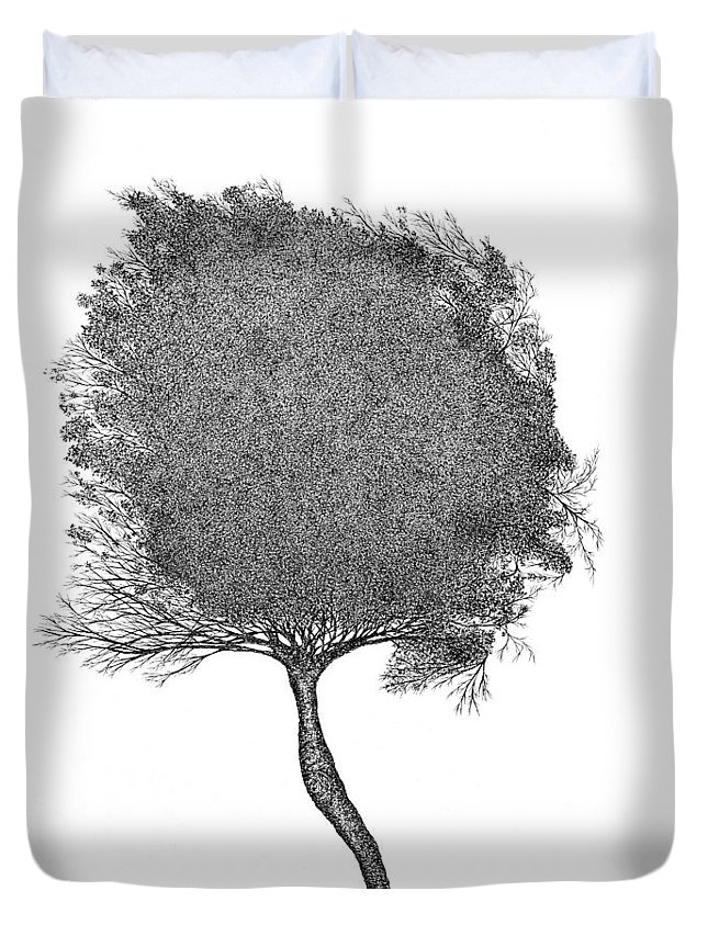Nature Duvet Cover featuring the drawing November 2011 by Andrea Currie