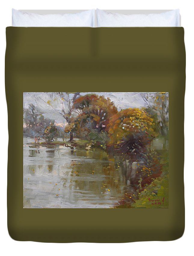 November Duvet Cover featuring the painting November 4th At Hyde Park by Ylli Haruni