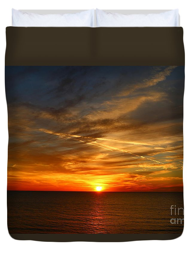 Sunset Duvet Cover featuring the photograph November Sunset by Christiane Schulze Art And Photography