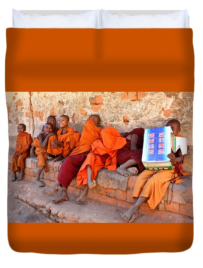 śrāmaṇera Duvet Cover featuring the photograph Novice Buddhist Monks by Venetia Featherstone-Witty