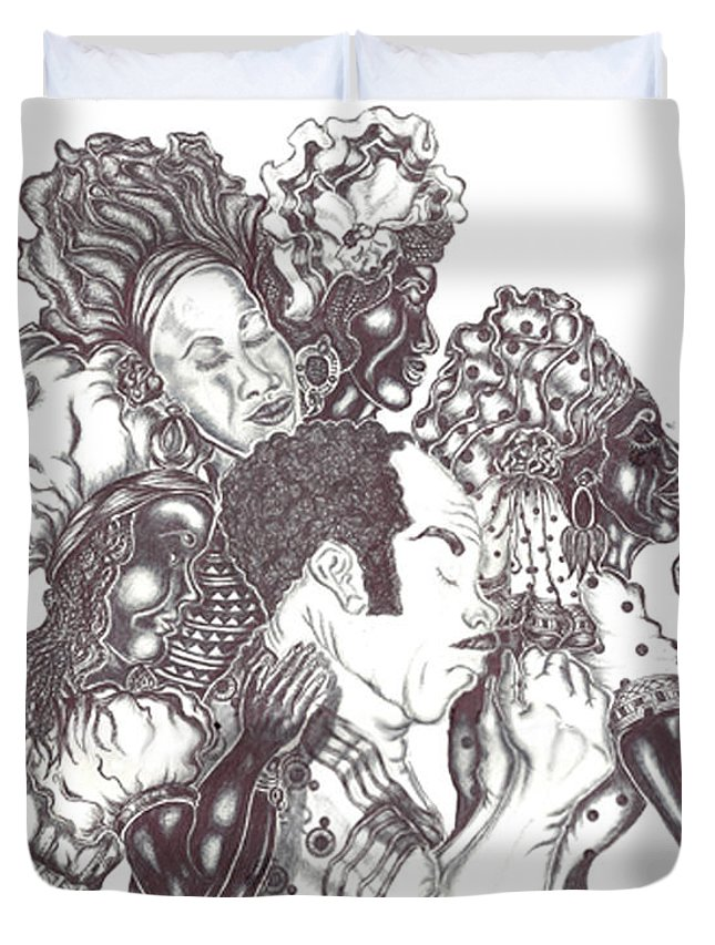 Pray Duvet Cover featuring the painting Now We All Pray by Kathy-Lou