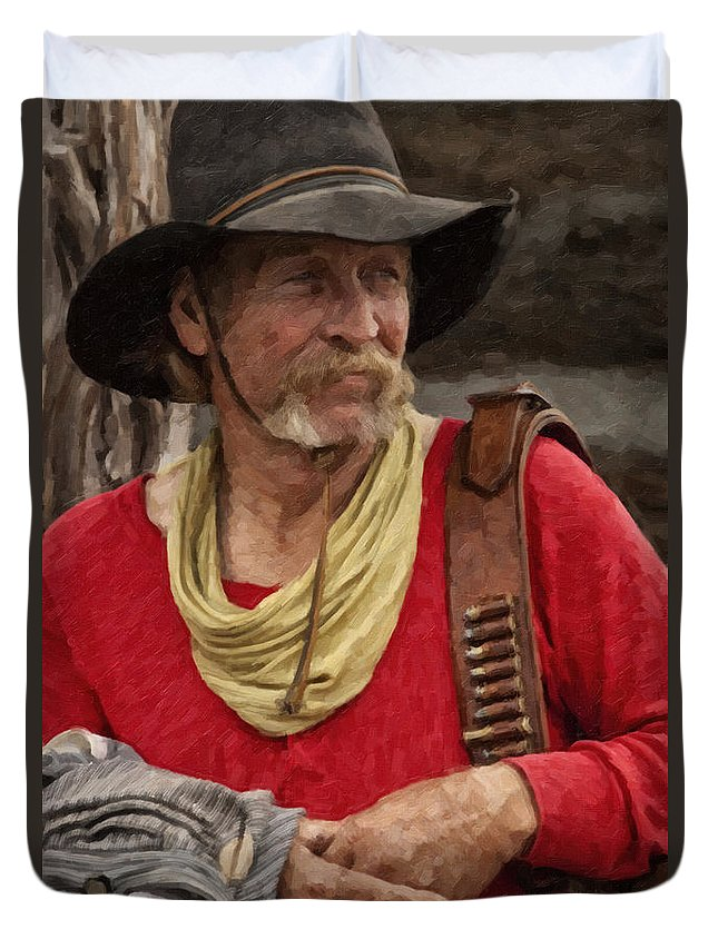 Cowboy Duvet Cover featuring the digital art Now What by Jack Milchanowski