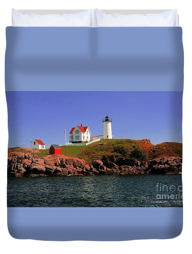 #nubble #lighthouse #maine Duvet Cover featuring the photograph Nubble Lighthouse-cape Neddick by Kathleen Struckle