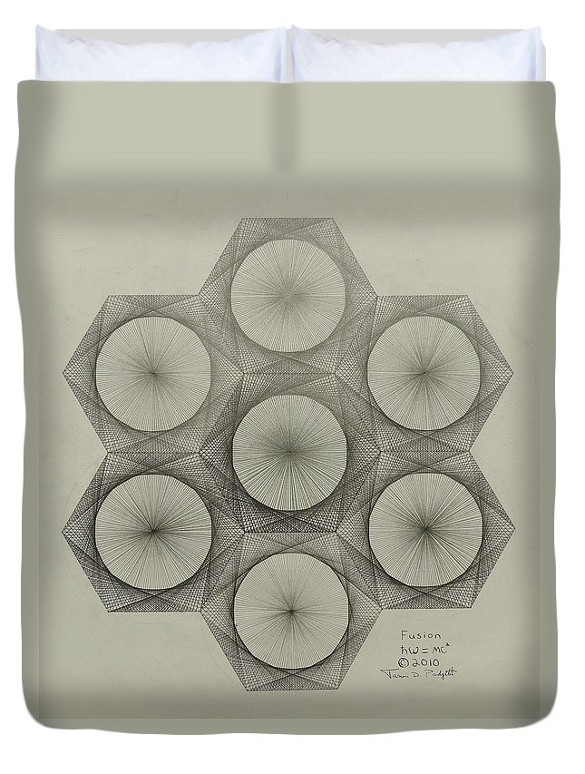Nuclear Duvet Cover featuring the drawing Nuclear Fusion by Jason Padgett