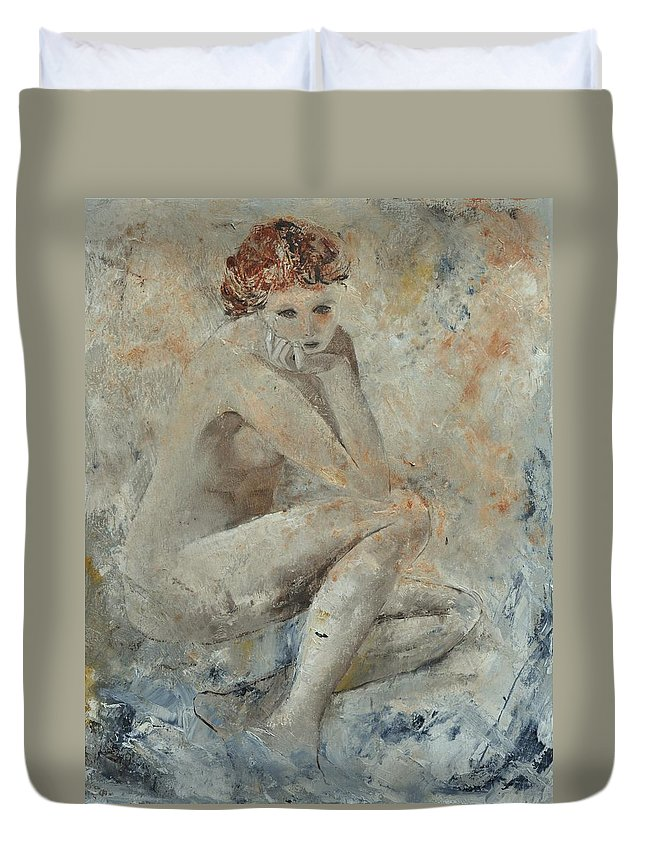 Nude Duvet Cover featuring the painting Nude 45314051 by Pol Ledent