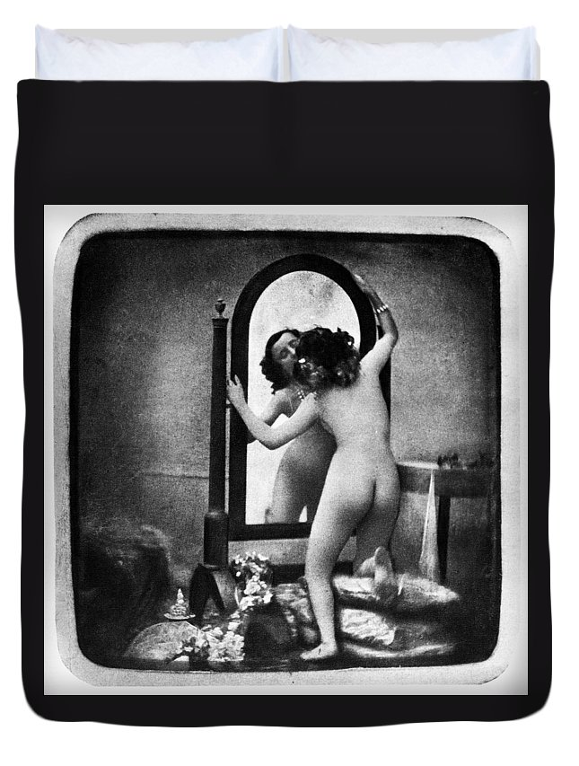 1850 Duvet Cover featuring the photograph Nude And Mirror, C1850 by Granger