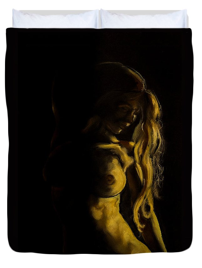 Art Duvet Cover featuring the painting Nude - Chiaroscuro by Dorina Costras