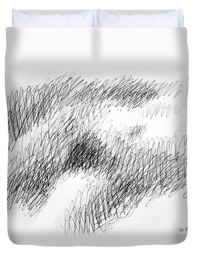 Sketches Duvet Cover featuring the drawing Nude Female Abstract Drawings 1 by Gordon Punt