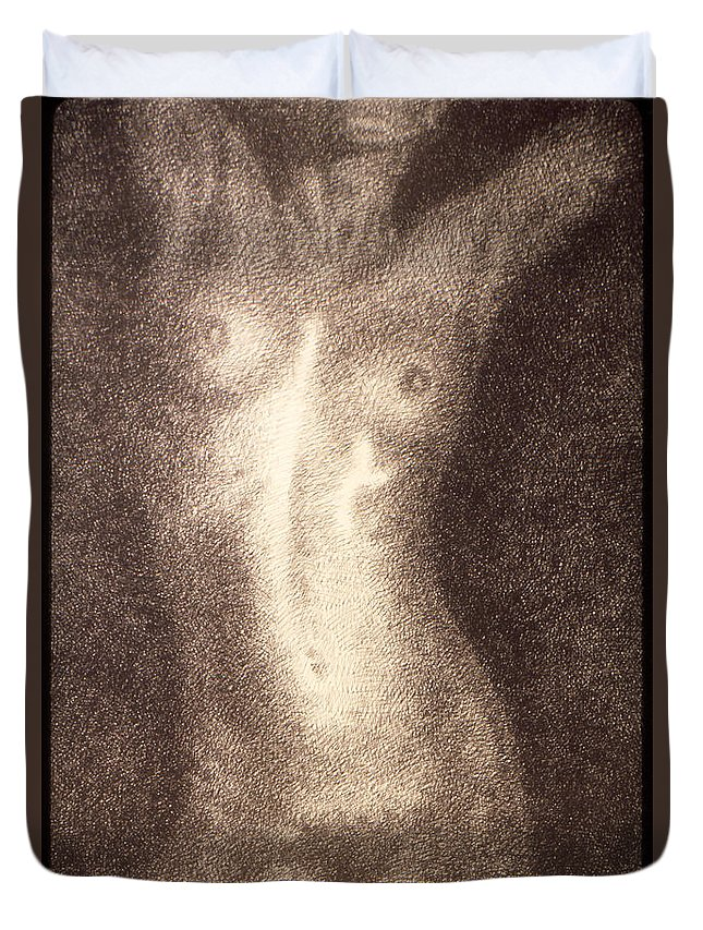 Sketches Duvet Cover featuring the drawing Nude Female Torso Drawings 5 by Gordon Punt