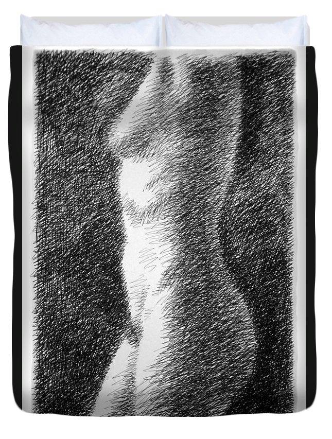 Duvet Cover featuring the drawing Nude Female Torso Drawings 6 by Gordon Punt