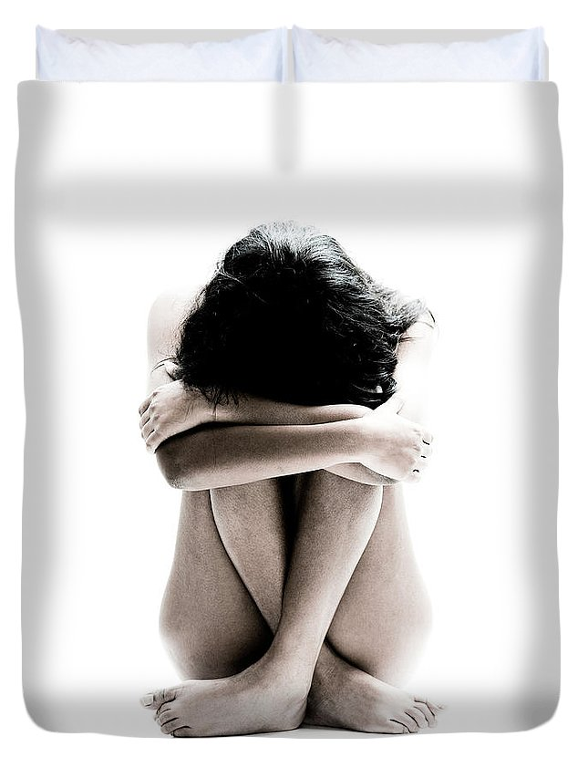 People Duvet Cover featuring the photograph Nude Girl Sitting by Win-initiative