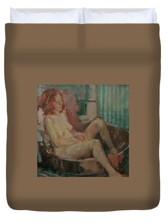 Female Duvet Cover featuring the photograph Nude In Old Tub, 2008 Oil On Canvas by Pat Maclaurin