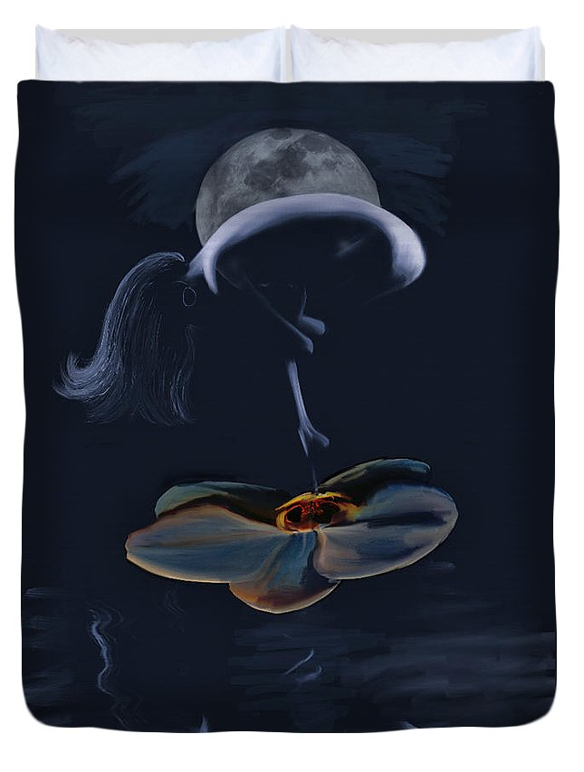 Nude Duvet Cover featuring the painting Nude On A Lilly Pad In Moonlight by Angela Stanton