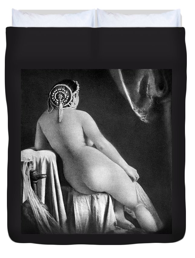 1850 Duvet Cover featuring the photograph Nude Posing: Rear View by Granger