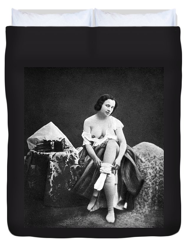 1850 Duvet Cover featuring the photograph Nude Undressing, C1850 by Granger