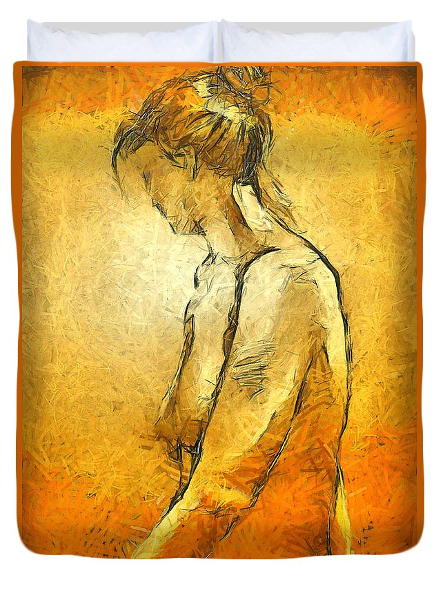Nude Duvet Cover featuring the painting Nude Viii by Dragica Micki Fortuna